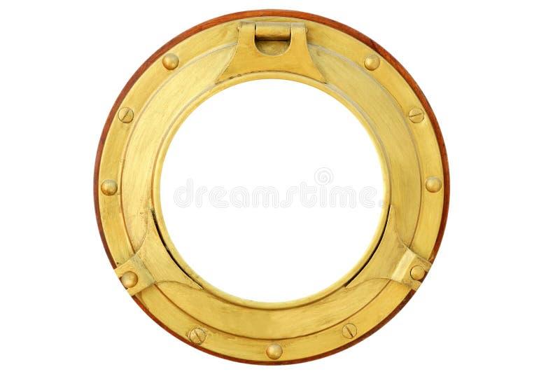 Finestra d'ottone dorata rotonda della barca isolata immagine stock