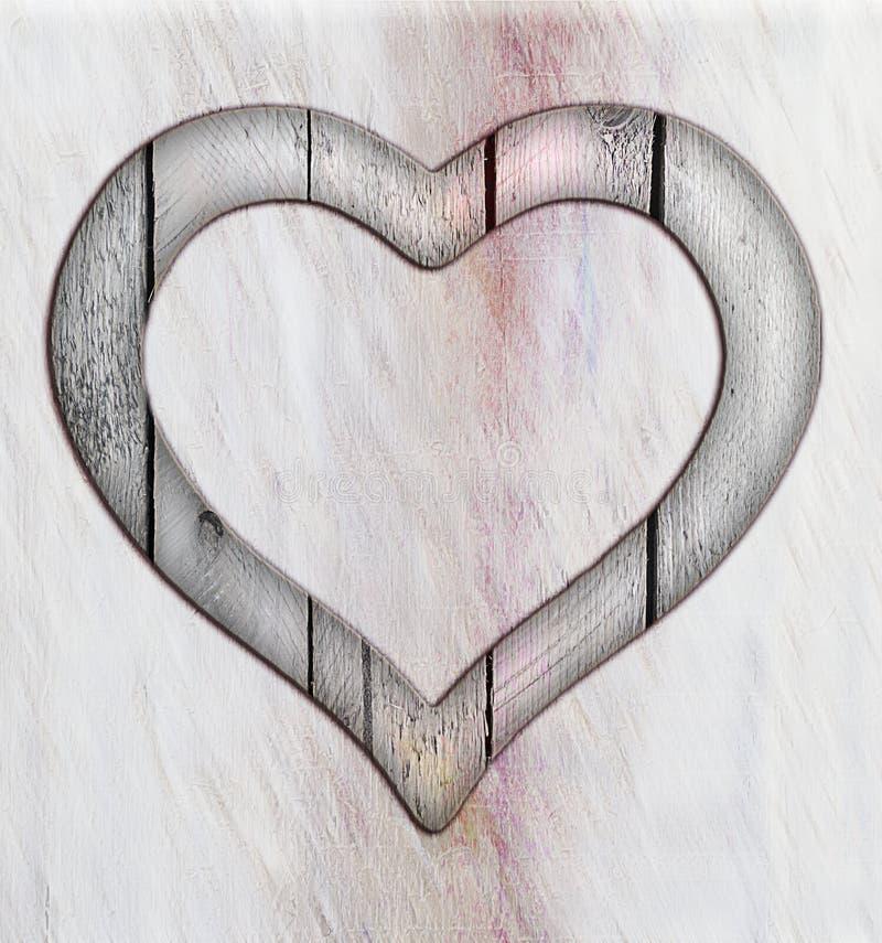 Finestra del confine della struttura del cuore di legno royalty illustrazione gratis