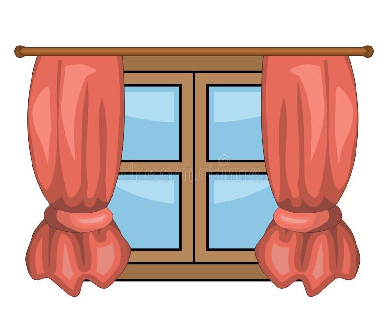 Finestra del fumetto con progettazione dell'icona di simbolo di vettore delle tende illustrazione di stock