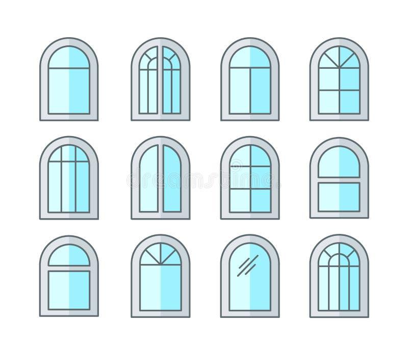 Finestra dell'arco & incurvata Strutture della finestra della tenda & della stoffa per tendine Linea piana insieme dell'icona Ill illustrazione di stock