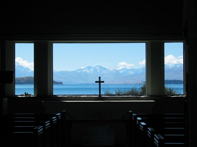 Finestra della chiesa di Tekapo del lago fotografia stock libera da diritti