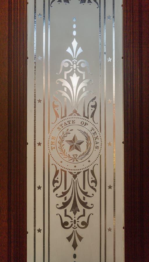 Finestra dello stato del Texas alla costruzione del Campidoglio fotografie stock