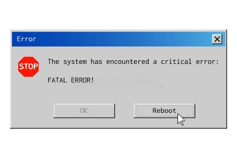 Finestra di dialogo di errore mortale illustrazione vettoriale