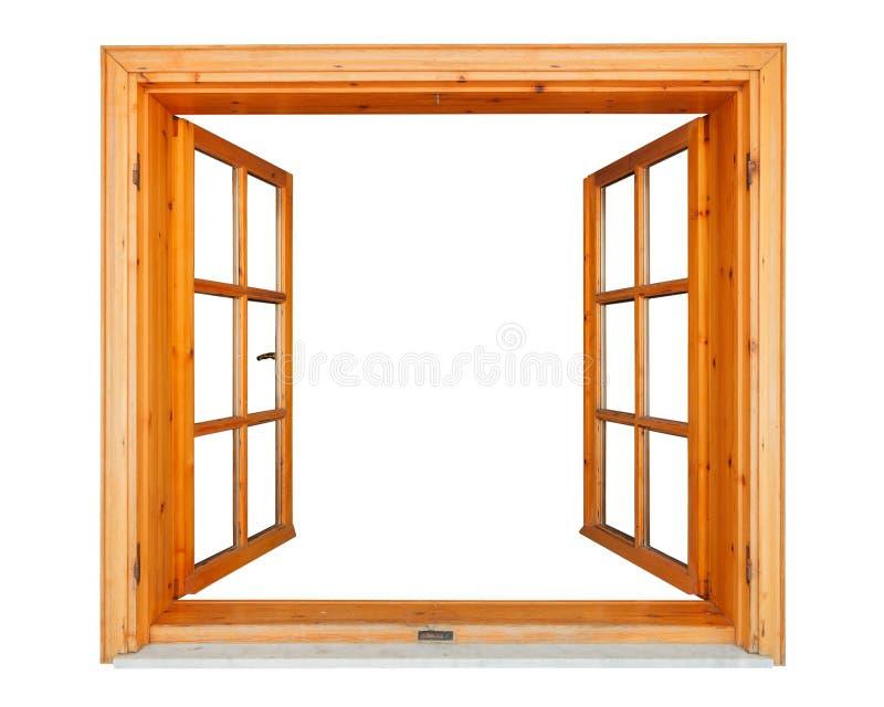 Finestra di legno aperta con il bordo di marmo fotografia stock libera da diritti