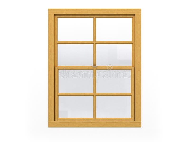 Finestra di legno chiusa su fondo bianco illustrazione di stock