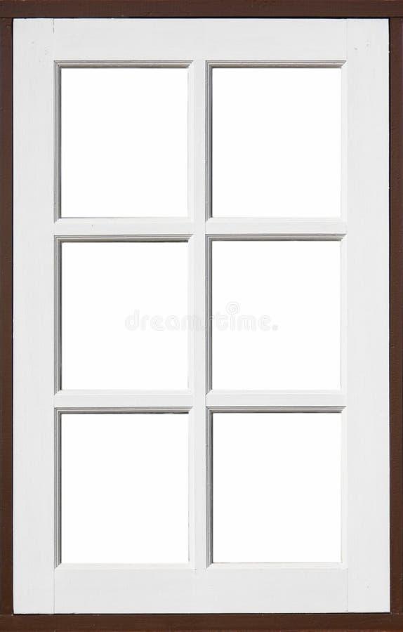 Finestra di legno con bianco e colore del brownd fotografie stock libere da diritti