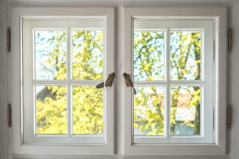 Finestra di legno con la vista soleggiata del giardino - guardando attraverso le vecchie doppie finestre fotografia stock libera da diritti