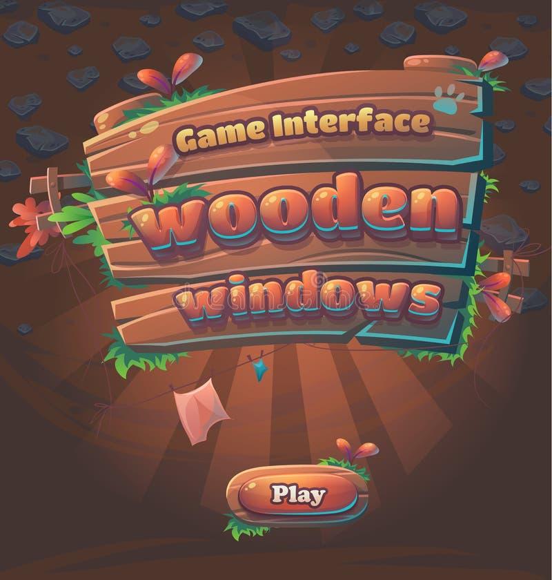 Finestra di legno del gioco dell'interfaccia utente del gioco illustrazione di stock