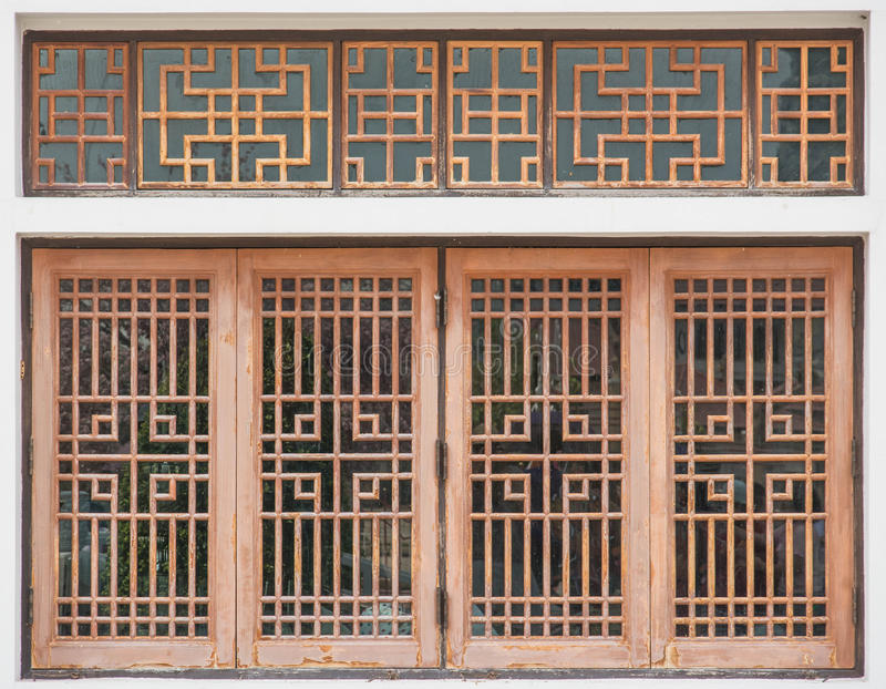 Finestra di legno di stile cinese fotografie stock