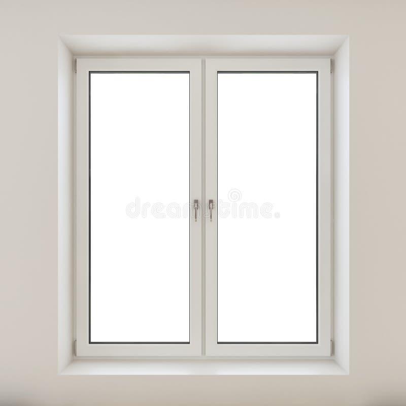 Finestra di plastica bianca della doppia porta isolata sulla parete bianca illustrazione vettoriale