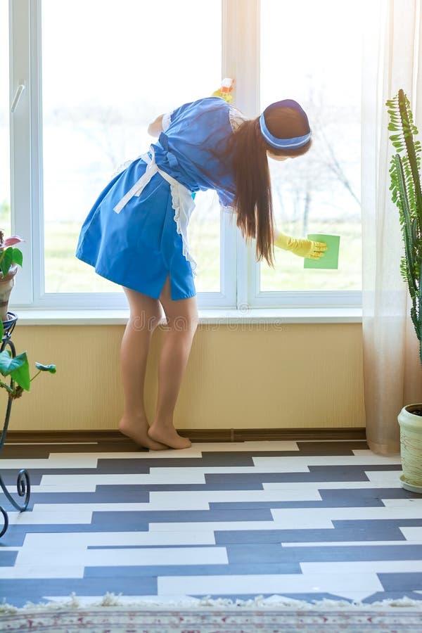 Finestra di pulizia della cameriera, vista posteriore immagini stock