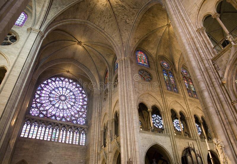 Finestra di Rosa, cattedrale del Notre Dame, Parigi fotografia stock