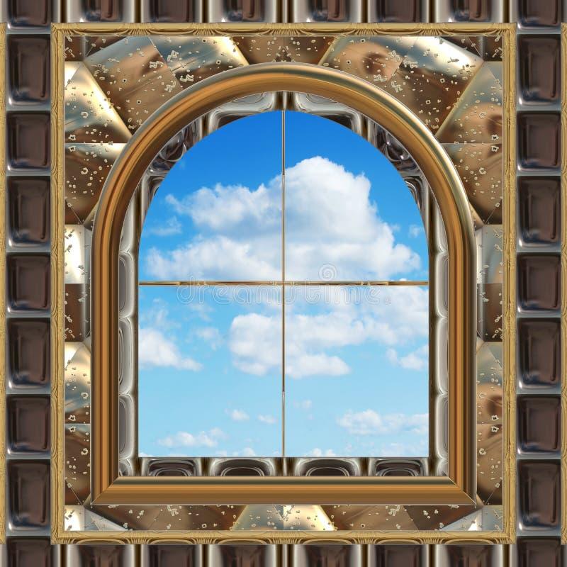 Finestra di scifi o gotica con cielo blu royalty illustrazione gratis