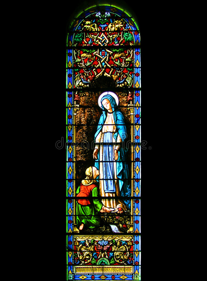 Finestra di Stained-glass religiosa immagine stock libera da diritti