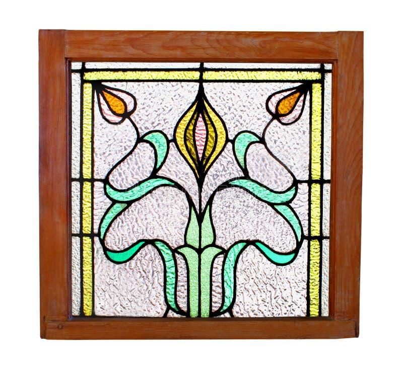Finestra di vetro macchiata dell'oggetto d'antiquariato isolata. fotografia stock libera da diritti