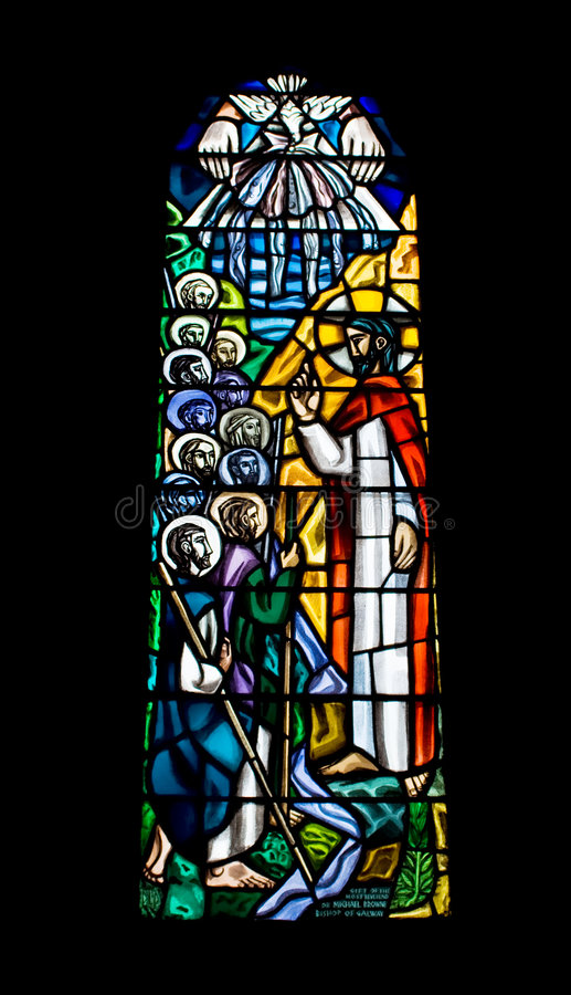Finestra di vetro macchiata religiosa fotografia stock