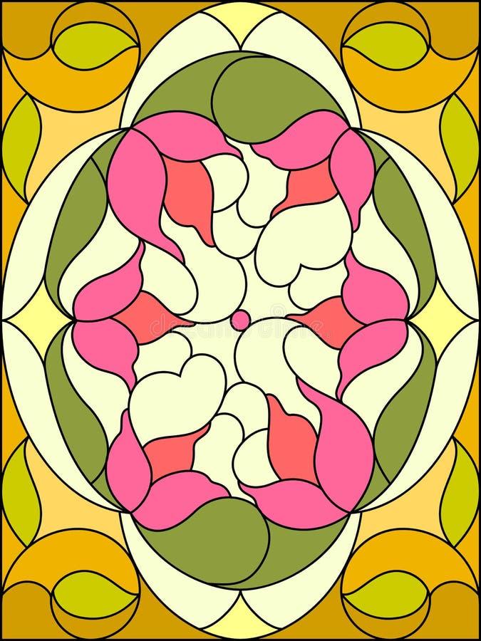 Finestra di vetro macchiata 6 Reticolo floreale Composizione di Florida stilizzata royalty illustrazione gratis