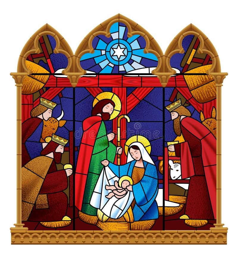 Finestra di vetro macchiato che descrive scena di Natale nel telaio gotico i royalty illustrazione gratis