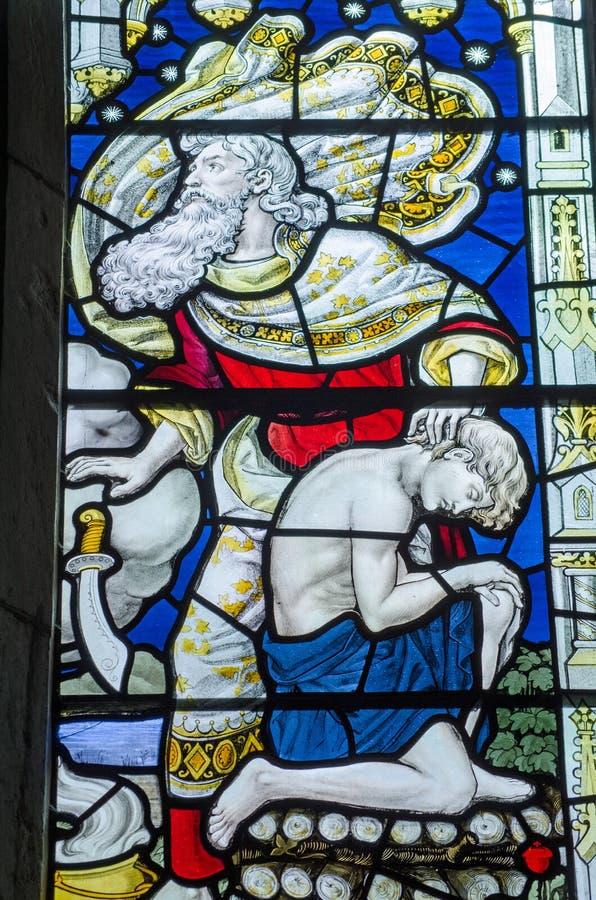 Finestra di vetro macchiato di Isaac e di Abraham immagine stock