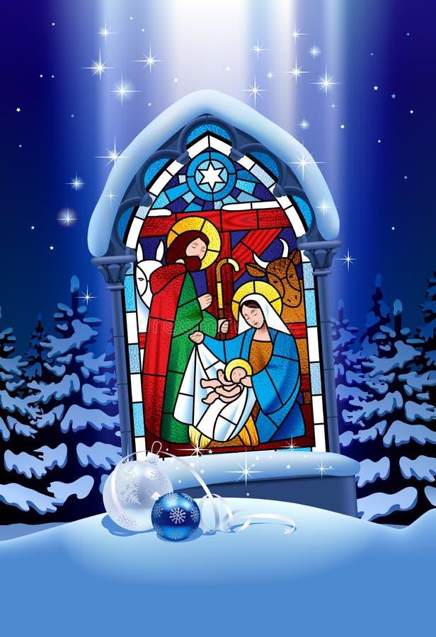 Finestra di vetro macchiato di Natale nella foresta di inverno illustrazione di stock