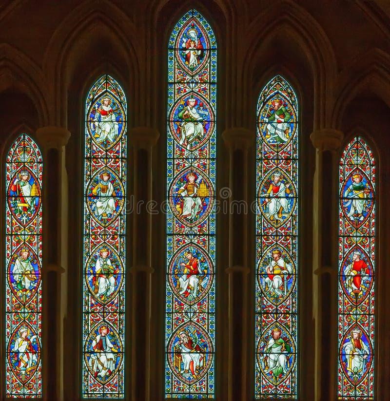 Finestra di vetro macchiato, Dublino, Irlanda fotografie stock