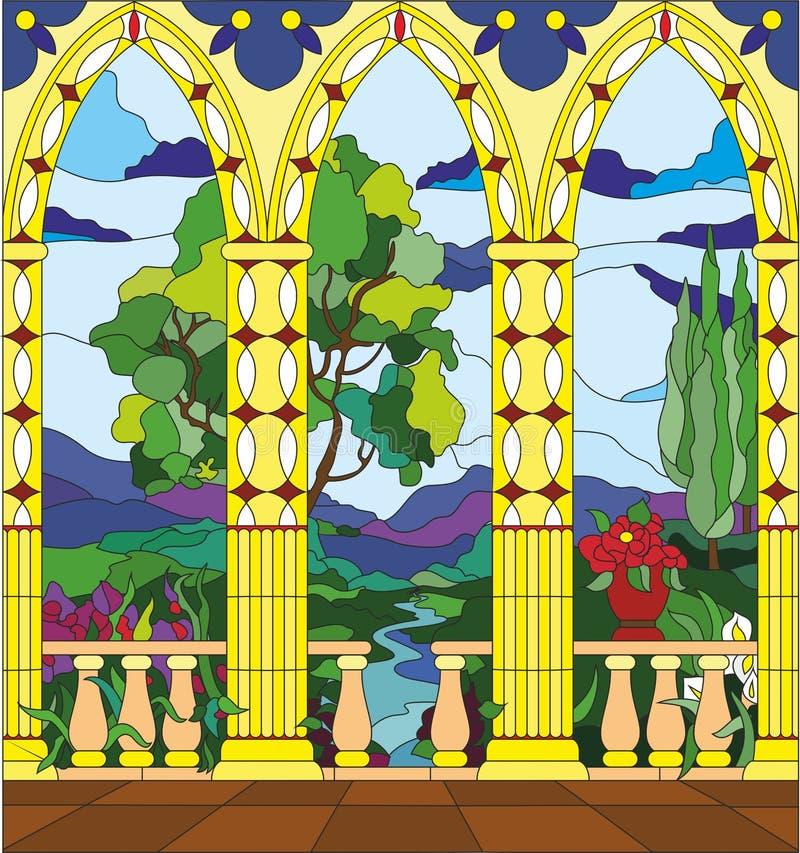 Finestra di vetro macchiato - la vista dal balcone del castello illustrazione di stock