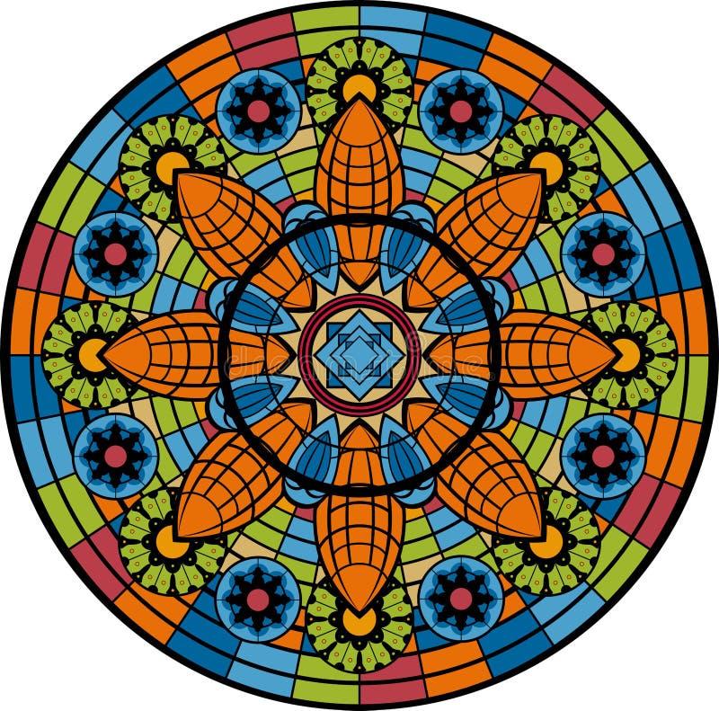 Finestra di vetro macchiato - rosetta illustrazione vettoriale