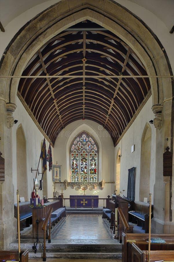 Finestra di vetro macchiato, St Peter e st Paul Church, Charlton Hore fotografie stock