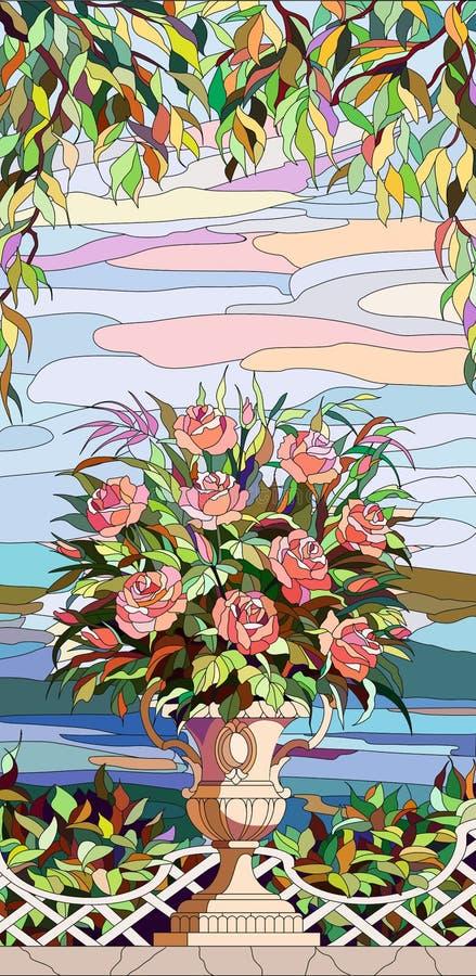Finestra di vetro macchiato - un mazzo delle rose in un vaso royalty illustrazione gratis