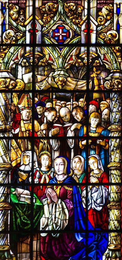 Finestra di Vitrage - interno della chiesa in monastero di Jeronimos, Li fotografia stock