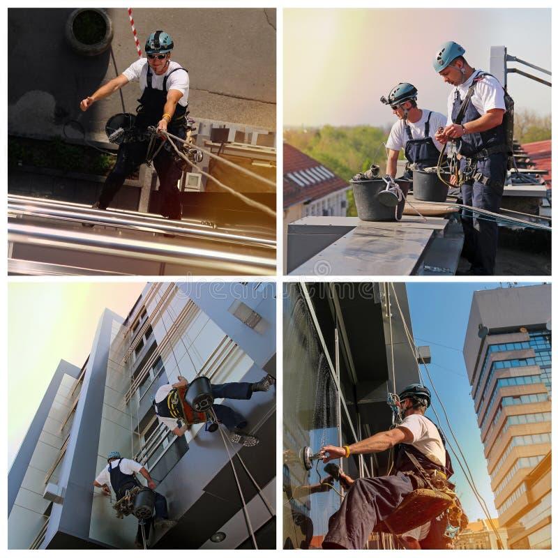 Finestra e collage di pulizia della facciata - servizi di pulizia del vetro - immagine stock libera da diritti