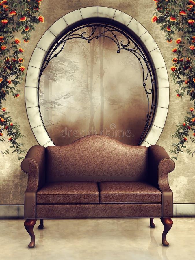 Finestra e sofà ornati dell'annata illustrazione vettoriale