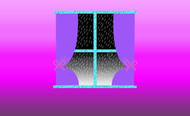 Finestra estetica che mostra giorno piovoso freddo fuori illustrazione di stock