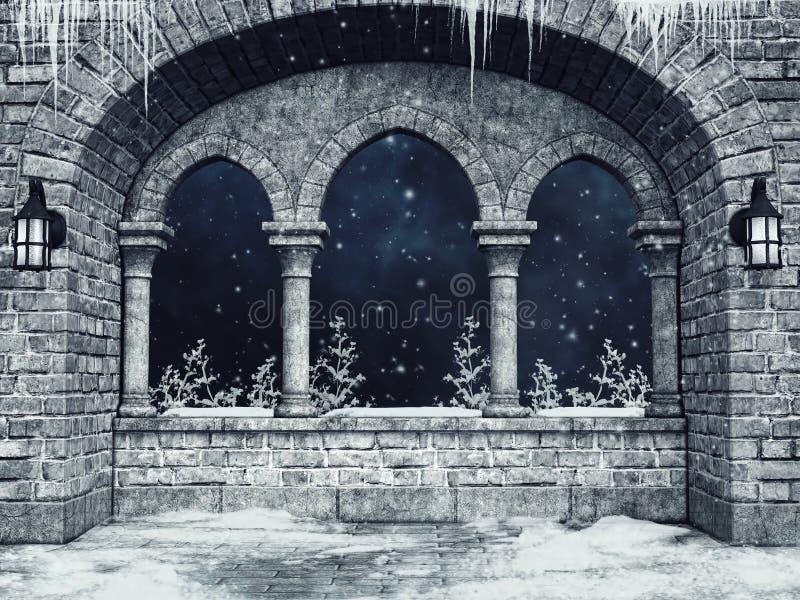 Finestra gotica con le lanterne ed i ghiaccioli illustrazione vettoriale