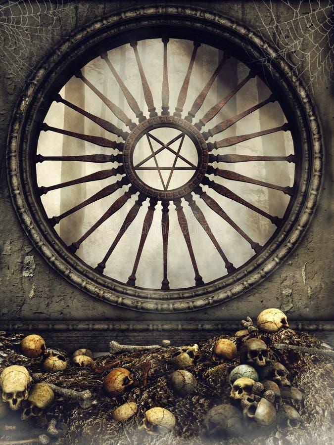 Finestra gotica con un pentagramma illustrazione vettoriale