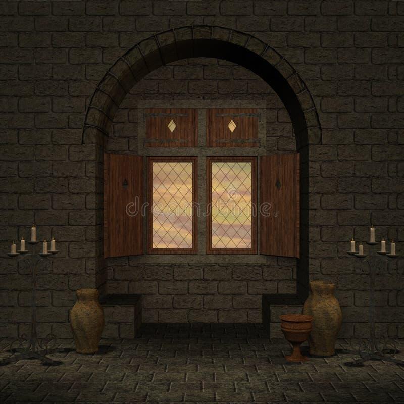 Finestra magica in una regolazione di fantasia royalty illustrazione gratis