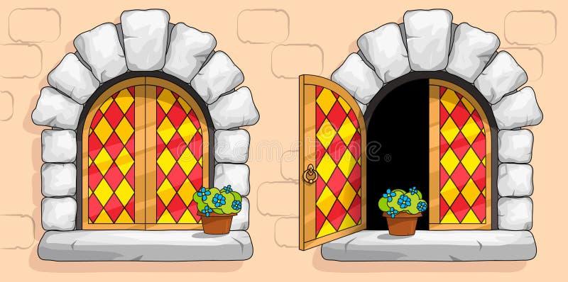 Finestra medievale, vetri macchiati rossi, pietre bianche immagine stock