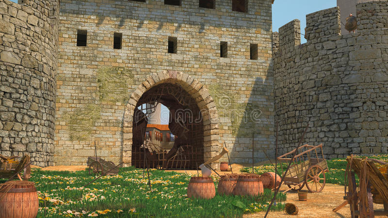 Finestra nella fortezza illustrazione di stock for Finestra nella dacia