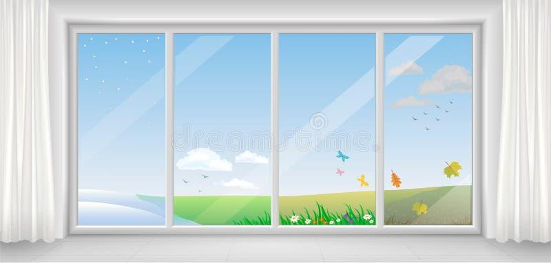 Finestra nelle stagioni differenti illustrazione vettoriale