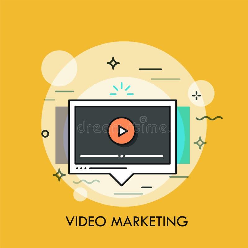 Finestra online del giocatore Concetto video di strategia di marketing sociale e virale royalty illustrazione gratis