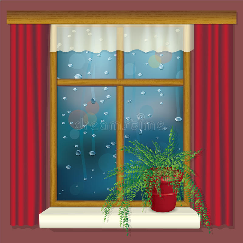 Finestra piovosa con le tende ed il fiore illustrazione di stock