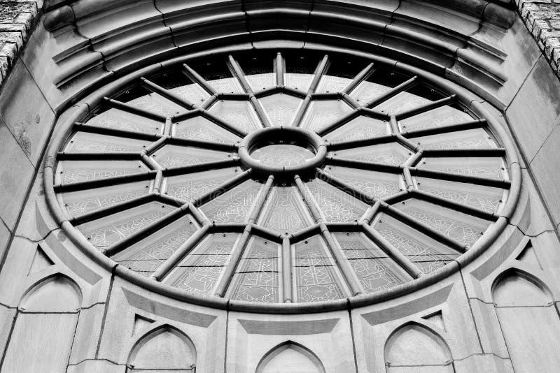 Finestra rotonda della chiesa - chiesa di Memorial United Methodist del panettiere fotografia stock libera da diritti