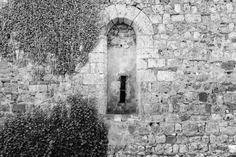 Finestra scolpita in pietra in una costruzione fotografia stock libera da diritti
