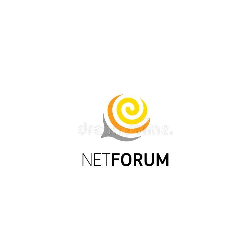 Finestra a spirale astratta per chiacchierata, forum, comunità di dialogo della rete Logo isolato vettore illustrazione vettoriale