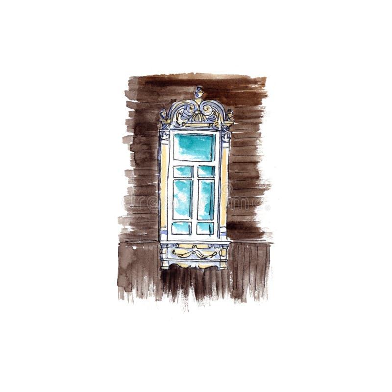 Finestre decorate e platbands ed otturatori scolpiti di legno antichi - schizzo dell'acquerello illustrazione vettoriale