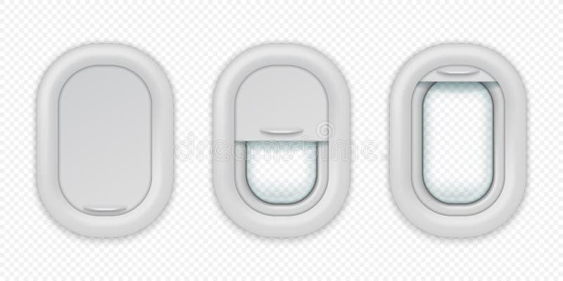 Finestre dell'aeroplano Oblò realistico degli aerei nelle posizioni differenti, aperto-chiuso e semichiuso Vettore isolato illustrazione vettoriale