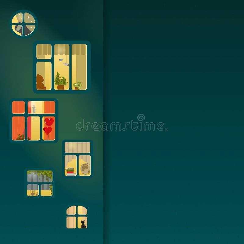 Finestre di notte illustrazione vettoriale