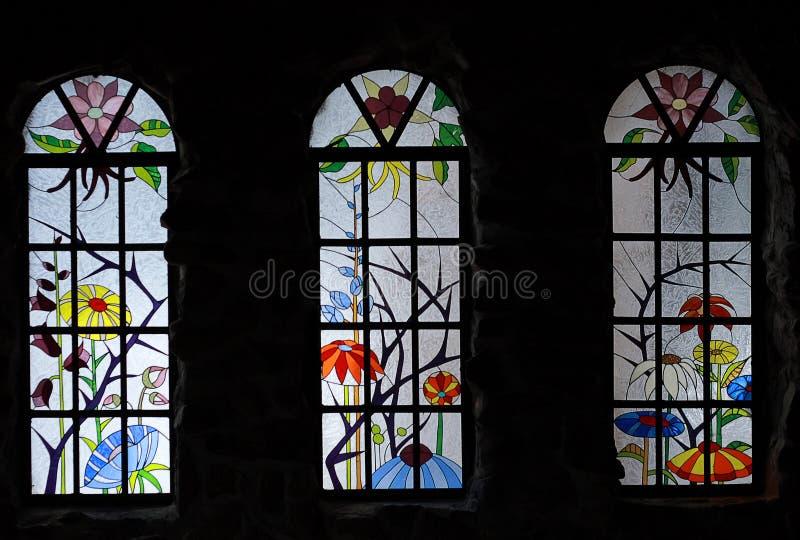 Finestre di vetro macchiato in vescovo Castle, Colorado fotografie stock libere da diritti