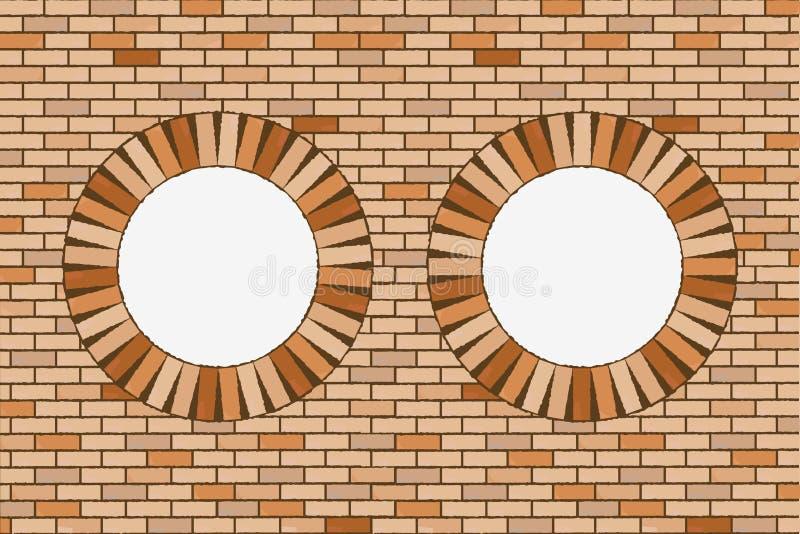 finestre rotonde del mattone illustrazione vettoriale