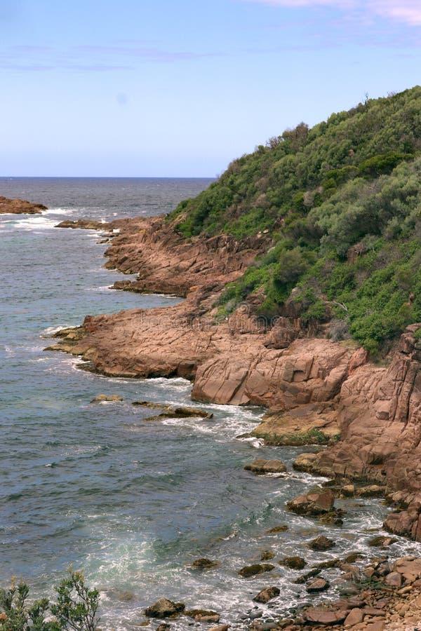 Fingal-Bucht-Landspitze im Porträt stockfotos
